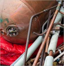 a scrap boiler with copper pipes
